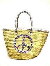 Straw & Sequin Shopping French Market Basket Bag Moroccan Tote Peace