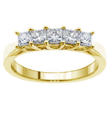 Wedding Ring in 14k Yellow Gold New 1.00 Ct 5-Stone Princess Cut Braided Prongs