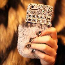 NewLuxury Bling Crystal Rabbit Fur Rhinestone Case Cover For Apple IPhone  model