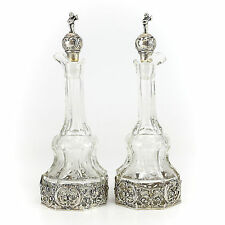 Pair of German .800 Silver Mounted Crystal Art Glass Cruets, 19th Century