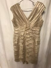 Adrianna papell sleeveless v neck tiered dress gold size 12p petite