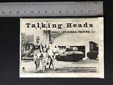 """Talking Heads 1979 Original 8X12"""" Hit Single """"Life During Wartime� Promo Ad"""