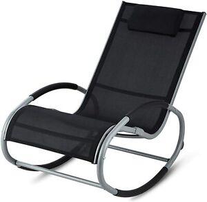 Rocker Garden Furniture Metal Rocking Chair Outdoor Relaxing Patio Sun Lounger