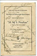 H.M.S. Pinafore Academy Of Music Roanoke Virginia March 1944 Cast Signed Program