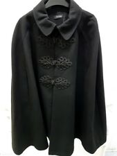 Evans Black Loose Cape Poncho With Lace Brocade Ditails Lined Plus Size 22-24