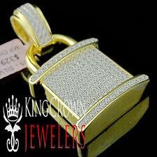 "10K Yellow Gold On Real Silver White Lab Diamond Padlock Pendant Pave 2"" Charm"