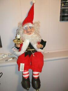 Vtg Animated TELCO Santa Elf Motion-ette Sitting w/ Glasses Holding Candle Light