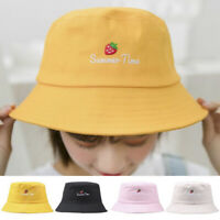 Women Folding Letter Strawberry Embroidery Bucket Hat Summer Fishing Outdoor_Cap