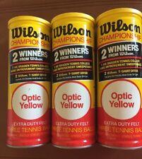 Vintage Wilson Championship Extra Duty Felt Tennis Balls 3 Cans with 9 Balls Lot