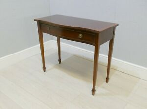 Antique Mahogany Hall/Side Table With Serpentine Front And Drop Ring Handles |60