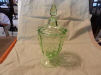Vintage Green Tinted Glass Candy Jar With Lid, Etched Flowers, Stem Base (M)