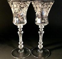 "CAMBRIDGE GLASS ETCHED WINE GLASS ELAINE PATTERN 6 1/2"" SET OF 2 #3500 VINTAGE"