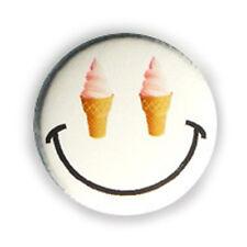 Button Pin Badge Strawberry ice cream eyes EMOTICON Yummy kawai pop 1inch Ø25mm.