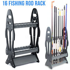 UK 16 Rods Fishing Rod Rack Stand Combos Storage Organizer Pole For Rests