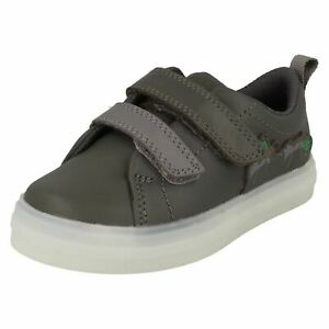 Boys Clarks Light Up Ants Detail Hook & Loop Leather Shoes Flare Bug T
