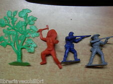 Lotto di 3 vecchi soldatini albero in plastica anni 70 England Nordista Sudista