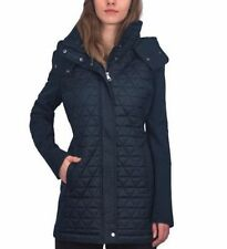 WOMEN'S ANDREW MARC New York PYRAMID QUILTED SOFT SHELL HOODED JACKET, Navy, M