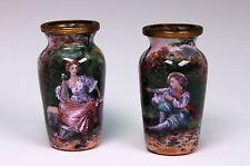 "Antique French France Enamel on Copper Pair of 2 1/4"" Tall Vase Vases"