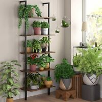 Industrial 5-Tier Ladder Shelf Bookcase Wall-mounted Wood Storage Display Rack