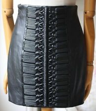 BALMAIN LEATHER MINI SKIRT WITH LACED DETAILING FR 36 UK 8