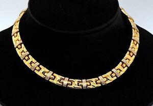 Designer signed heavy 18K 2-tone gold fancy link formal necklace