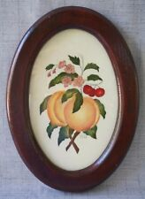 """L. C. Mitchell THEOREM Painting PEACHES CHERRIES BLOSSOMS - OVAL FRAME 10 3/4"""""""