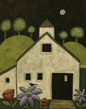 Night White Barn 16 x 20 ORIGINAL CANVAS PAINTING FOLK Art PRIM Karla Gerard