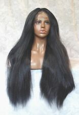 "3"" Lace Front Thick Jet Black Yaki High Heat Ok Full Synthetic Wig - WM7"