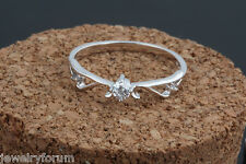 Solid 925 Sterling Silver Rings Angel Wing Feather 1 Ct Diamond Ring For Women