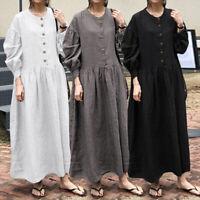 Plus Size Women Long Casual Shirt Dress Baggy Swing Maxi Kaftan Abaya Jilbab Top