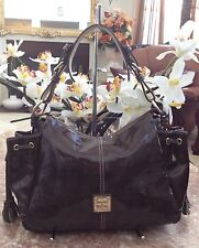 Dooney & Bourke Greenish Brown Patent Leather Venus Hobo Bag Tote Purse