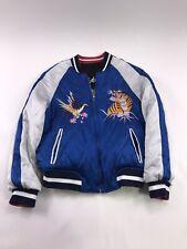 Sukajan Embroidered Satin Bomber Jacket Blue Gold Japan Tiger Dragon Kids Medium