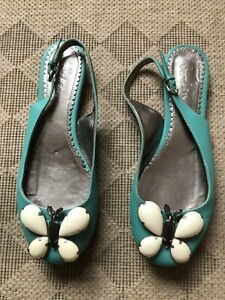 BODEN Shoes Turquoise Butterfly Sling Backs Size 4  37