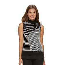 New Dana Buchman Large Sleeveless Sweater Black White Stripe Mockneck Knit Top