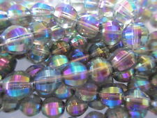 S304-50pcs VINTAGE West German Black Diamond AB Glass Faceted Beads 9mm
