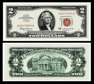 1963 $2 RED SEAL UNITED STATES NOTE ~~ABOUT UNCIRCULATED
