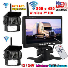"12V-24V 7"" Wireless Rear View Monitor System +2x Bus Truck Trailer Backup Camera"