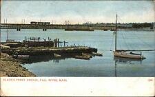 Fall River MA Slade's Ferry Bridge - Trolley and Boats c1910 Postcard