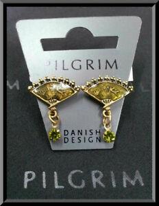 NEW PILGRIM DENMARK GOLD PLATED EARRINGS GREEN SWAROVSKI CRYSTALS ENAMEL VINTAGE