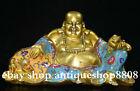 11  China Tibet Cloisonne Bronze Happy Maitreya Buddha Money Bag Ruyi Sculpture