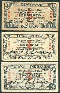1943 US Philippines National Bank WW2 ILOILO Emergency Notes 50c, 1 & 2 Pesos