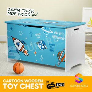 Kids Toy Box Storage Chest Cabinet Container Children Clothes Organiser Blue