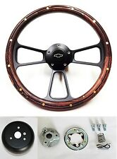 "1969-1994 Chevy Camaro Steering Wheel 14"" Mahogany Wood on Black Bowtie Cap"