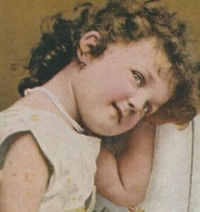 Early 1900s Young Curly Hair Cute Little Flower Girl Wedding or Church Post Card