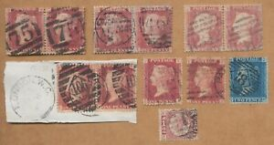 12 line engraved stamps, letters in 4 corners. 4 pair x 1d red; 2d blue,plate 7.
