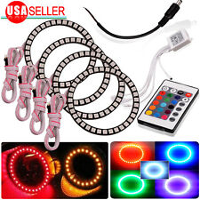 4X RGB 90mm 5050 SMD 42Leds Headlight MultiColor Angel Eye Halo Ring Light Kit