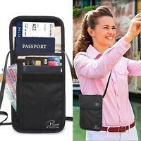 Travel Neck Pouch Passport Holder RFID Blocking Wallet ID Cards Orgainzer Bag