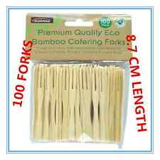 100 x BAMBOO CATERING FORKS DISPOSABLE STICKS PICK COCKTAIL FINGER FOOD BBQ