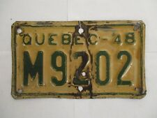 1948 Quebec  MOTORCYCLE  License Plate Tag