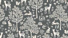 Fabric 100 Cotton Makower Uk. Woodland Forest Grey 2059/s